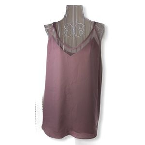 Lulu Dusty Rose Spaghetti Strap  Blouse Womens L
